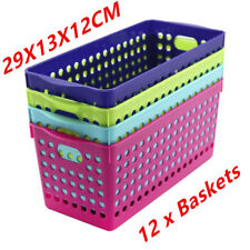 Neon Color Plastic Storage Basket Bins Tubs Containers 29x13x12CM Home Office WM