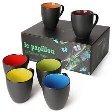 6 x 350 ml Kaffeetassen/Kaffeebecher Set Außen Schwarz Innen Farbig / von MIAMIO