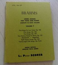 Brahms Lieder (songs) for voice and piano complete in eight volumes, Vol 7.