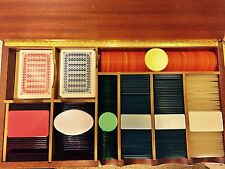 Rare Vintage Substantial Italian Luxury Vintage Poker Set Chips / Plaques Cards