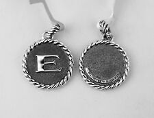 "DAVID YURMAN AMAZING SOLID STERLING SILVER INITIAL ""E"" 23 mm ROUND PENDANT NEW"