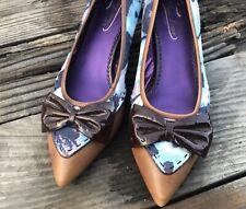 Fun POETIC LICENCE Size 38.5 Dear Diary Kitten Heel Pumps Silk Leather Retro