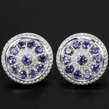 Natural Purplish Blue IOLITE Stones Sterling 925 Silver Round EARRINGS