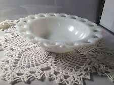 "MILK GLASS OPEN LACE 9.5"" BOWL (G1979B)"
