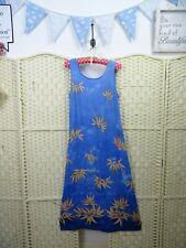 VINTAGE blue bamboo dress viscose festival boho grunge long lean slip  M