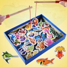 32pcs Kids Wooden Magnetic Fishing Game Set Fish Toys Early Educational Learning