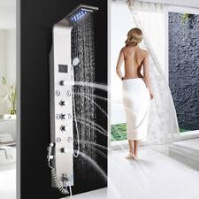 LED Gebürstetes Nickel Duschpaneel Aluminium Duschset Duschsäule Regendusche
