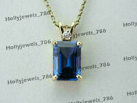 1.50Ct Emerald Cut Blue Sapphire Pendant Necklace Solid 14k Yellow Gold Over