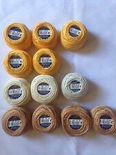 12 balls DMC Cébélia No 10. 25g 100% cotton. assorted yellows & gold (G)