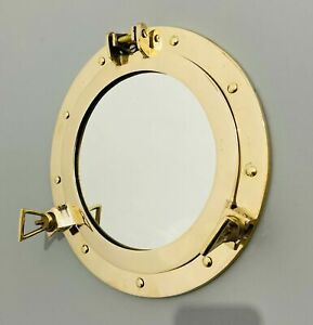 "12"" Antique Brass Finish Porthole Mirror ~ Nautical Maritime Wall Decor ~ Window"
