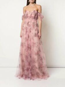 Marchesa Notte Gown Off-the-Shoulder Tulle Draped Bodice Gown Size 6
