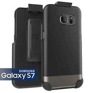 For Samsung Galaxy S7 Slim Hybrid Armor Case + Belt Clip   Silver