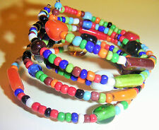 CUFF BRACELET with Colorful Glass Beads of Different Sizes Wire Wrap Style HANDM