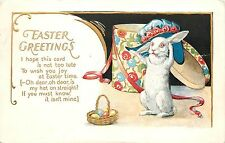 Embossed Easter Postcard 552; White Rabbit Tries on Easter Hat, Unposted