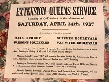 Reproduction NY Subway Notice Regarding Opening of the Queens Extension 4/24/37