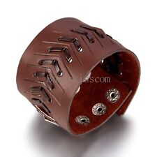Punk Rock Brown Wide Leather Handcrafted Cuff Men's Bracelet Wristband Gifts