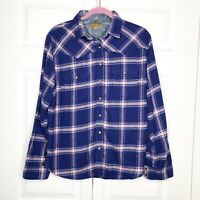 JACHS GIRLFRIEND Navy Pink Flannel Snap Button Shirt Women's Size Medium