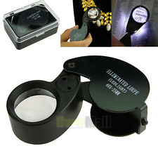 40x 25mm Glass Magnifying Magnifier Jeweler Eye Jewelry Loupe Loop Led Light BLK