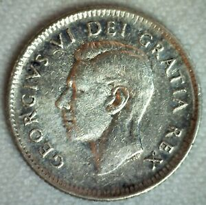 1950 Canada Silver Ten Cents Coin Almost Uncirculated 10c Canadian George VI