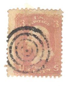 Scott 65 Early US Stamp 3c Washington..1861-62..Target Cancel