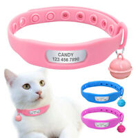Personalised Dog Collar Silicone Pet Cat Name ID Collar Tag & Bell for Chihuahua