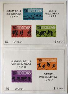 1968 Mexico Olympics Souvenir Sheets | Sc #983a 985a Mi #BL7 BL8 | MNH OG
