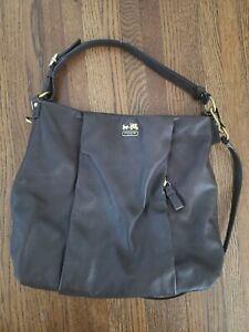 Coach 21224 Madison Isabelle BRWN Leather Crossbody Shoulder purse Hobo Bag