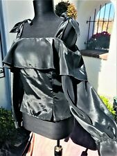 Vintage 80's Rehearsals Black Tie Off Shoulder Gloss Ruffle Buttons Sleek Blouse