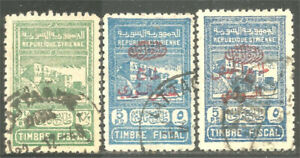 Syria Three 1945 Fiscal Revenue Tax Stamps 2 1/2p green 5p blue surcharged (20)