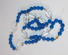 "Vintage Faceted Crystal Sappphire Blue Glass Bead 9k Gold 26"" Necklace 8d 12"