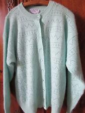 Cardigan veste ajourée ras du cou vert tendre manches 46/48 laine angora