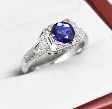 $4,199 Platinum 1.45ct Natural Blue Sapphire & F-VS Single Cut Diamond Ring 5.8g