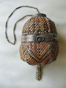 Antique Silver Art Deco Blue Jewel Orange Black Enamel Chain Mail Compact Purse