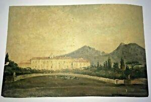 PORTICI & VESUVE ITALY 19TH CENTURY ORIGINAL HANDMADE GOUACHE J. DE SENAINVILLE