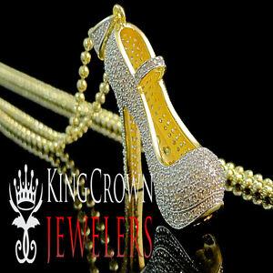 Ladies 10K Yellow Gold On Silver Stiletto Heel Shoe Simu Diamond Pendant + Chain
