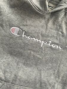 Champion Girls Gray Pink  EMBROIDERED PULLOVER HOODIE  sweatshirt Size LARGE L