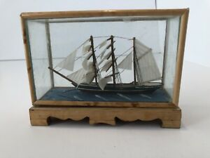 Vintage Sail Boat Model Ship in Bamboo and Glass Display Case