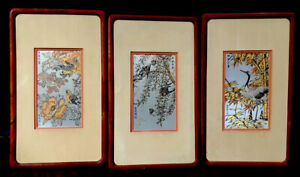 Zhang Shou-Cheng 3 FRANKLIN MINT 24 K Silver Gold Copper Etching Birds