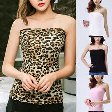 Womens Ladies Strapless Sleeveless Bandeau Boob Tube Vest Crop Bra Top Summer