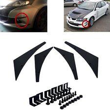 4pcs Polyurethane Bumper Front Splitter Fins Spoiler Canards Universal Black