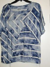 NEW Style & Co Sport LARGE Light blue tie dye with Ivory stripe blouse Top
