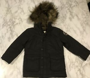 Abercrombie Kids Sz 5/6 Black Sherpa Lined Parka Coat Jacket Faux Fur Hood