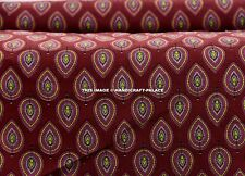 2.5 Yard Indian Maroon Floral Hand Block Print Cotton`Fabric Dressmaking -Sewing