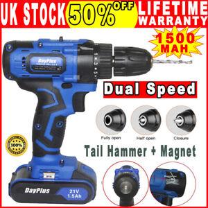 21V Cordless Drill Tail Hammer Electronic Drill Li-lon Battery Dual Speed DIY UK