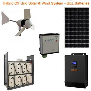 Hybrid Off Grid Solar Kit with 1kW Wind Turbine & 5kW Inverter 14kWh Battery 48V