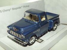 """1955 Shevy Stepside Pickup Blue Die Cast Metal Model Car 5"""" Kinsmart Collectable"""