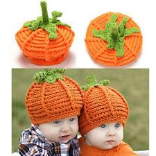 Newborn Baby Pumpkin Cap Knit Hat Halloween Costume Photography Props Headwear
