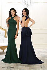 SIMPLE PROM SEMI FORMAL SEXY EVENING GOWN SWEET 16 HALTER STRETCHY FITTED DRESS