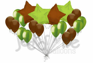 20 pc Lime Green & Brown Stars & Latex Balloons Party Decoration Birthday Baby