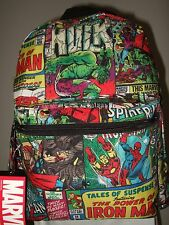Marvel Comics Collage Backpack Book Bag Iron Spider Man The Hulk Thor Avengers